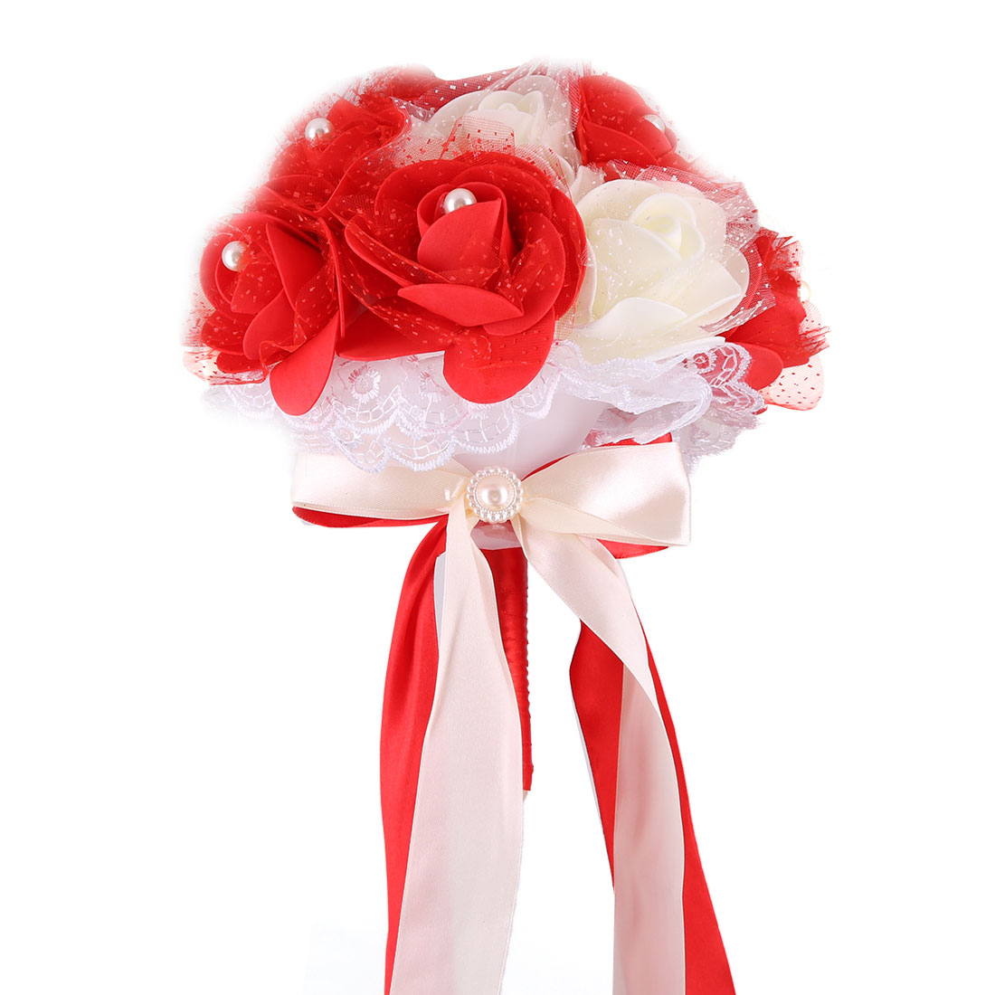Wedding Bridal Foam Rose Buds Handhold Bouquet Craft Ornament Red 9 Inch Dia