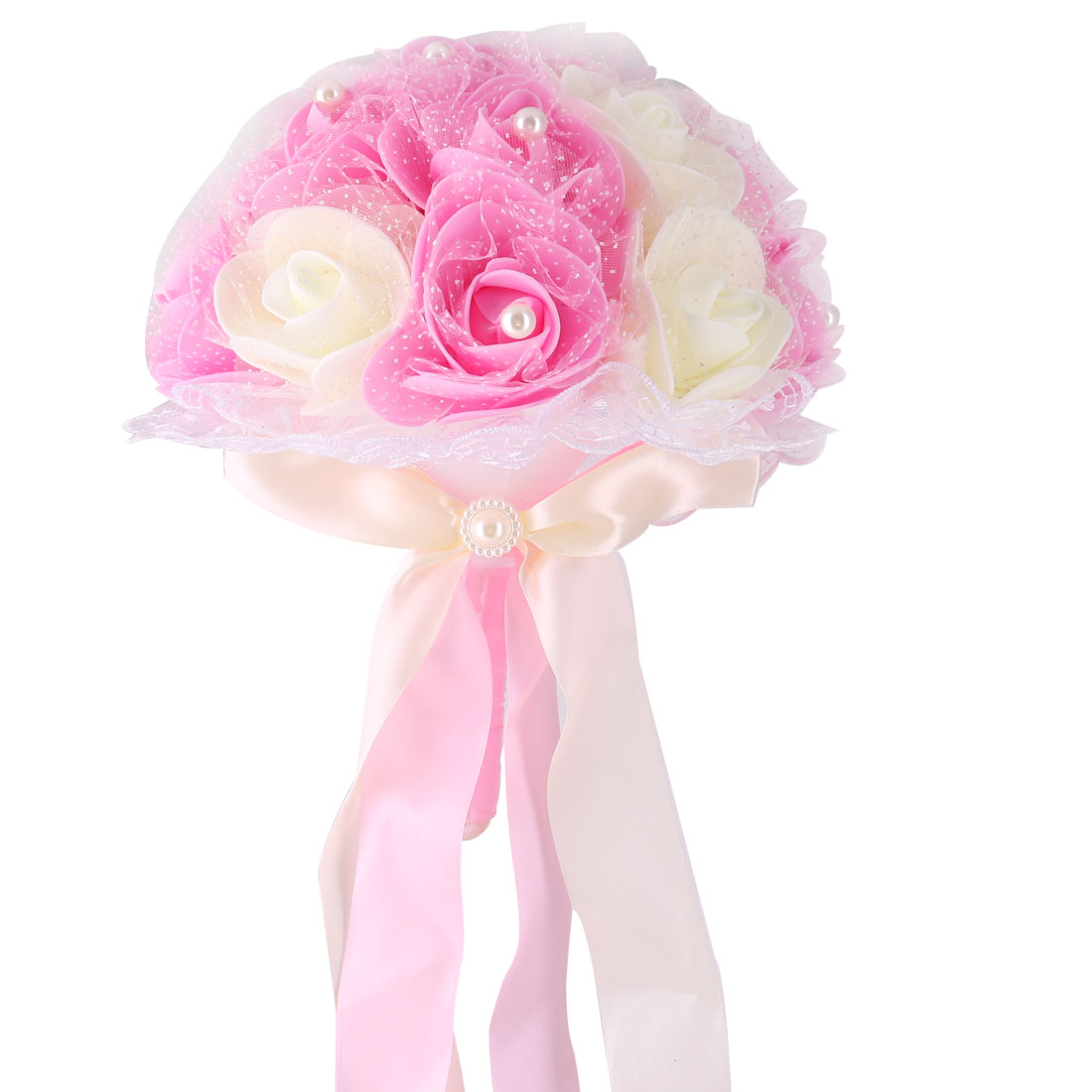Wedding Bridal Foam Rose Buds Handhold Bouquet Craft Ornament Pink 9 Inch Dia