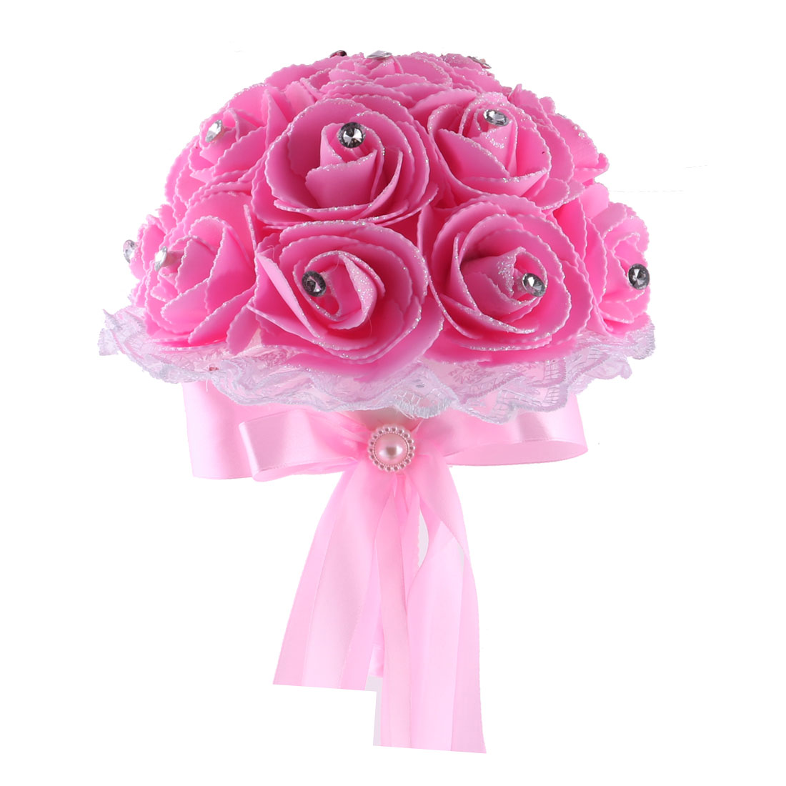 Wedding Banquet Bridal Foam Rose Buds Handhold Artificial Bouquet Craft Ornament Pink