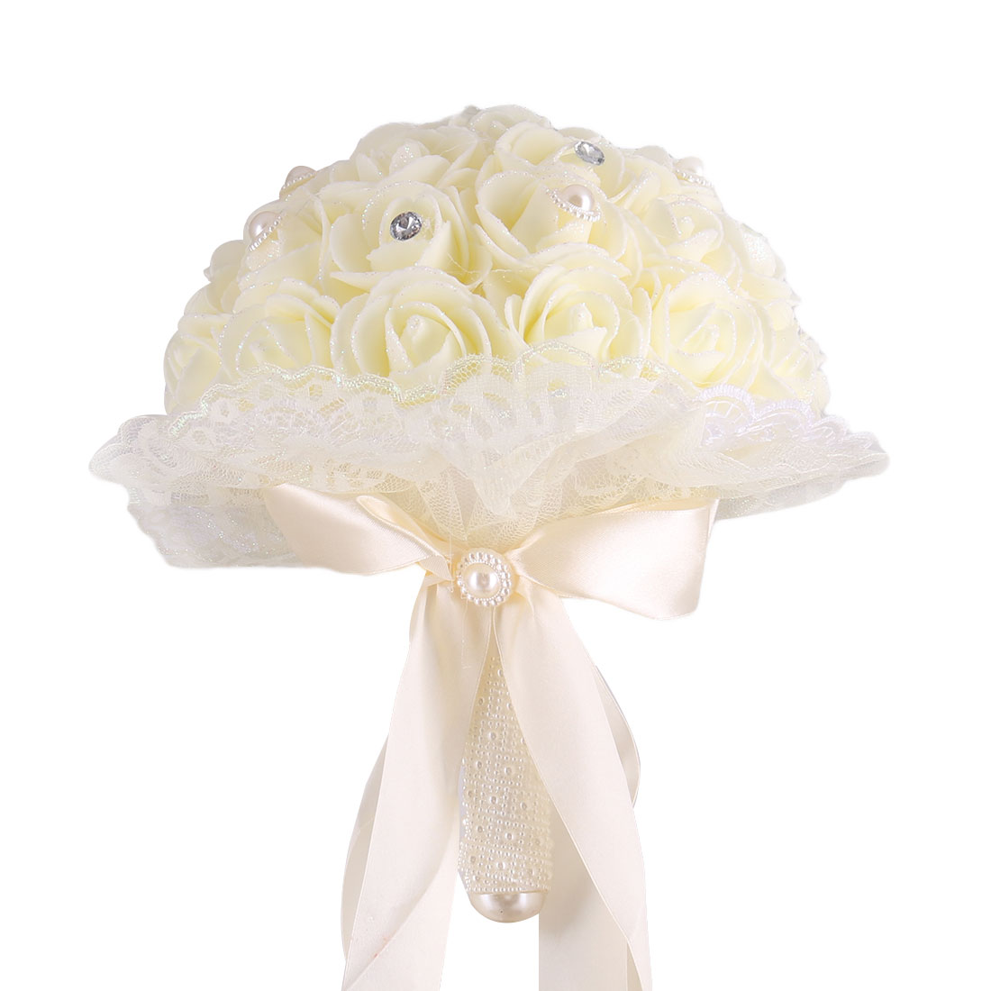 Wedding Banquet Foam Rose Buds Handhold Artificial Bouquet Craft Light Yellow 9 Inch Dia