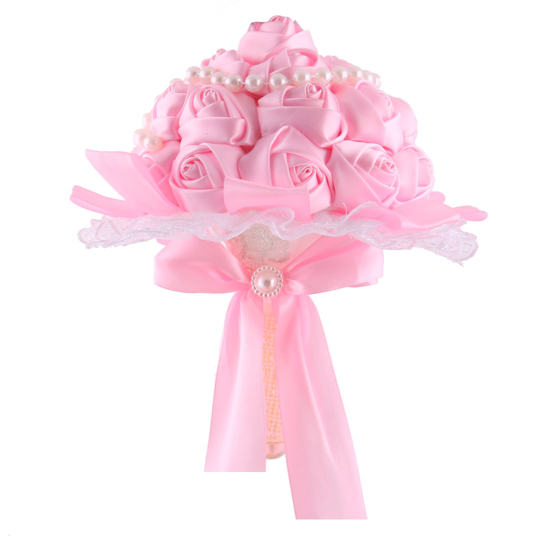 Wedding Bridesmaid Polyester Bowknot Decor Flower Handhold Bouquet Pink 9 Inch Dia