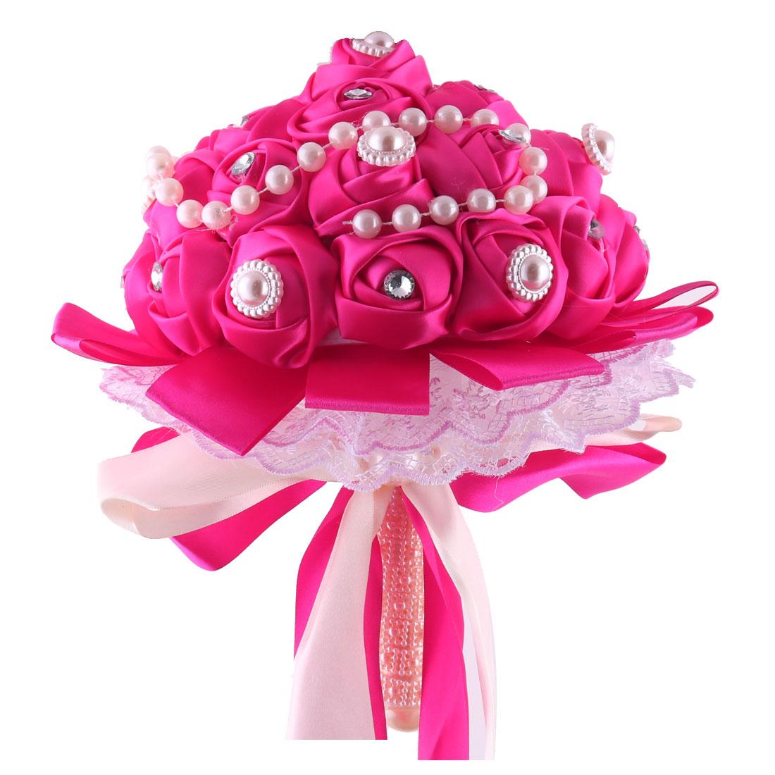 Wedding Bridesmaid Polyester Bowknot Decor Flower Handhold Bouquet Fuchsia 9 Inch Dia