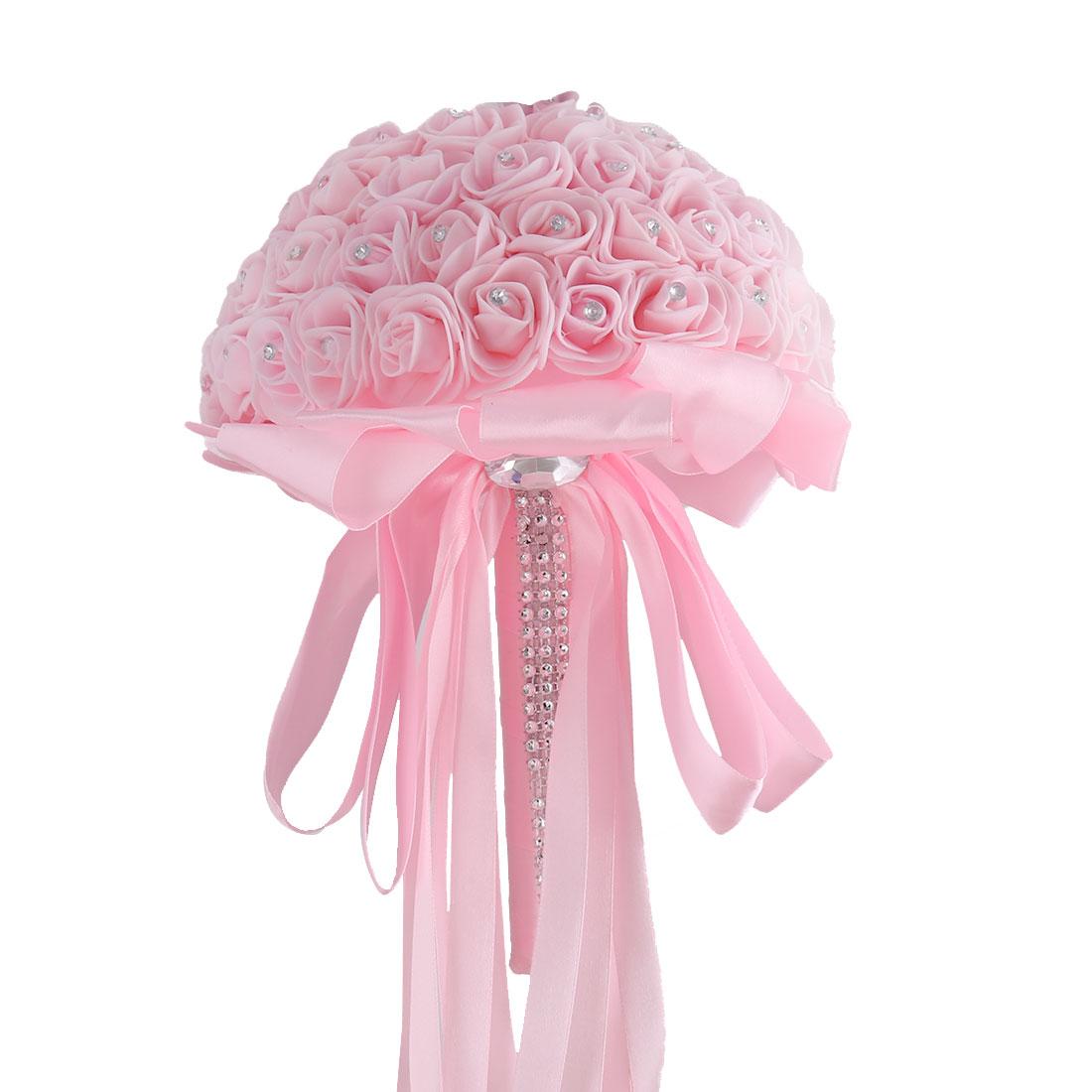 Bridesmaid Wedding Foam Buds Globular Handmade Artificial Flower Bouquet Pink