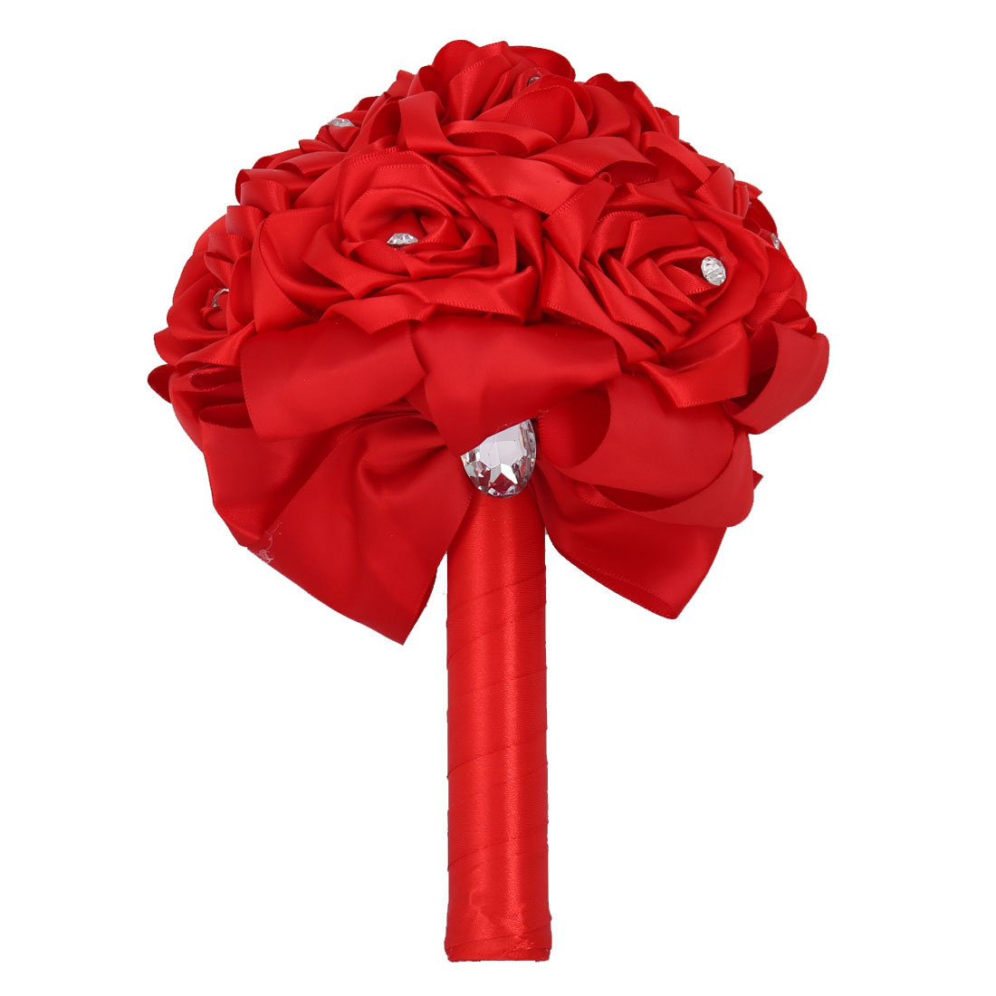 Wedding Party Foam Buds Handhold Roses Bouquet Craft Artificial Flower Decor Red
