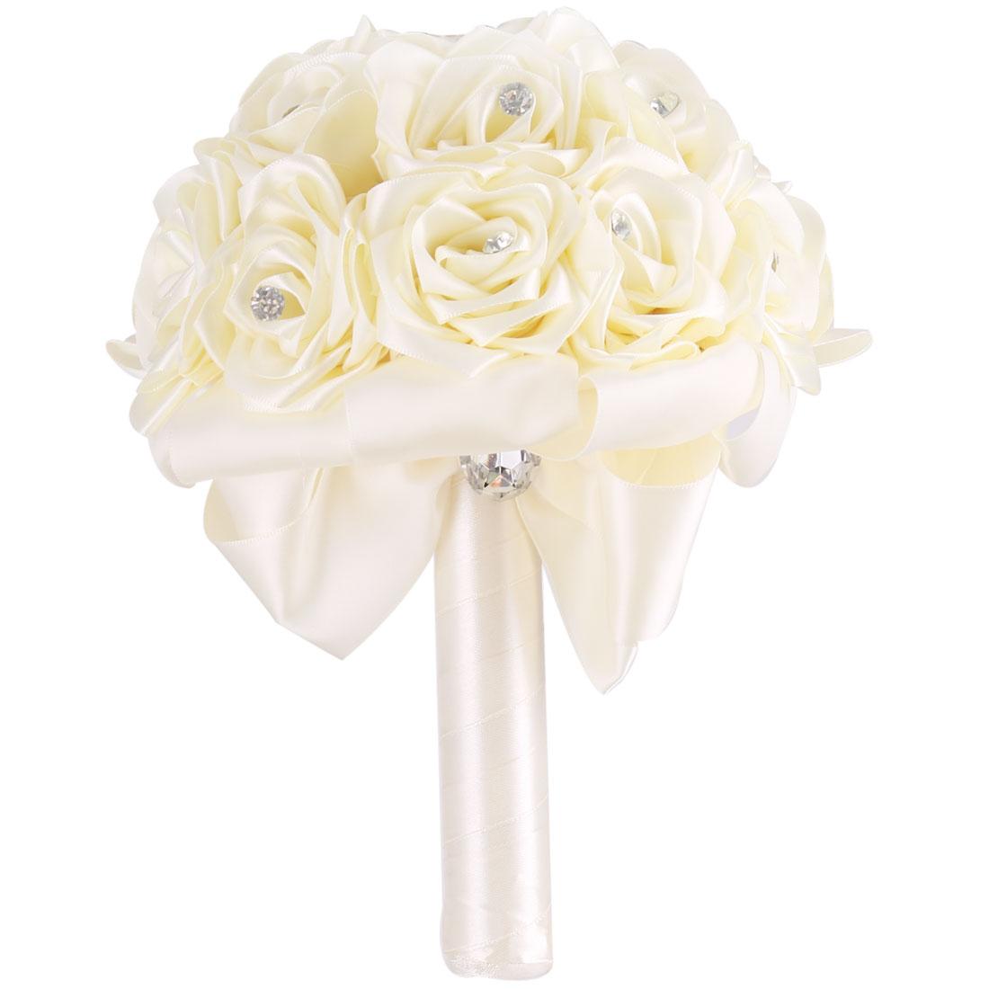 Wedding Party Foam Buds Handhold Roses Bouquet Craft Artificial Flower Decor Beige