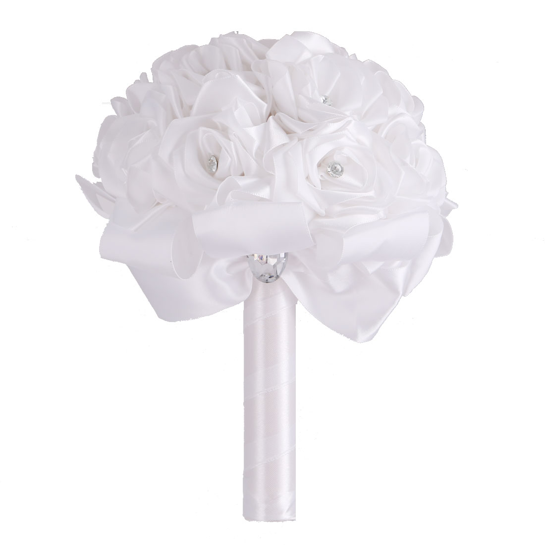 Wedding Party Foam Buds Handhold Roses Bouquet Craft Artificial Flower Decor White