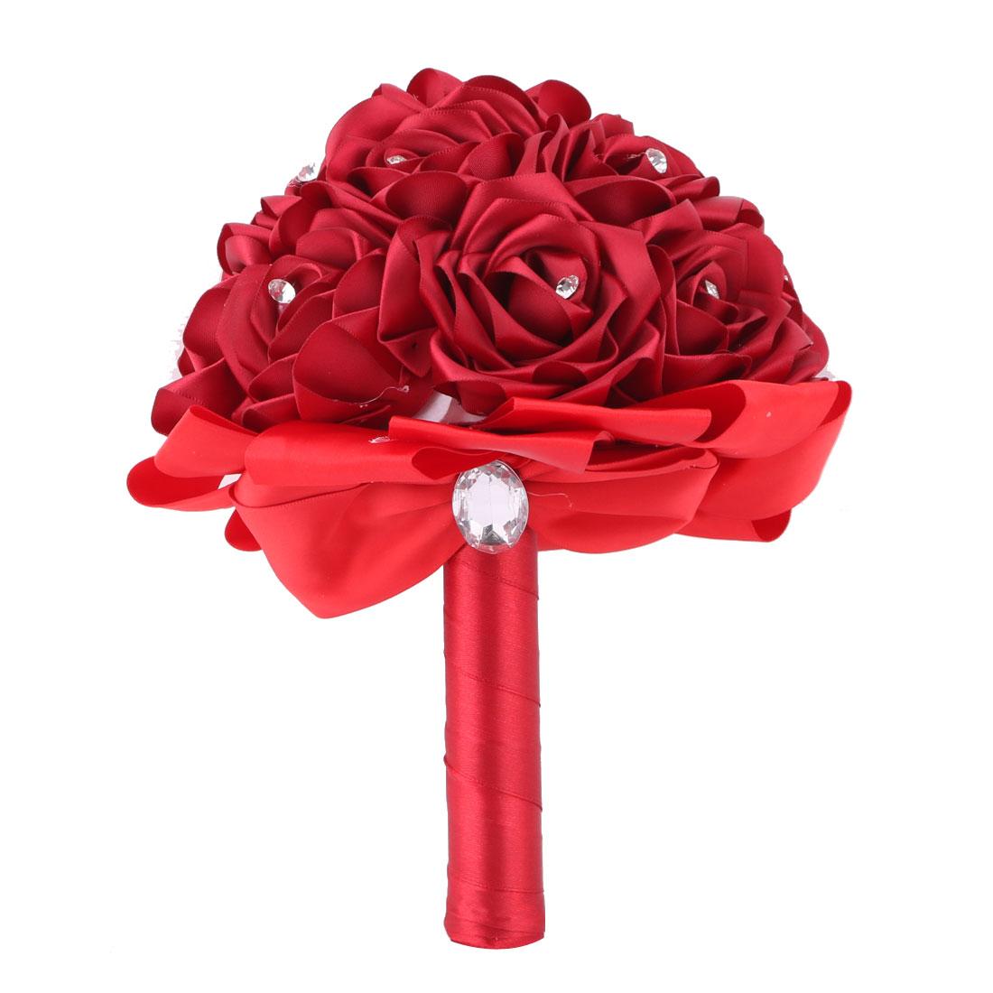 Wedding Party Foam Buds Handhold Roses Bouquet Craft Artificial Flower Decor Dark Red