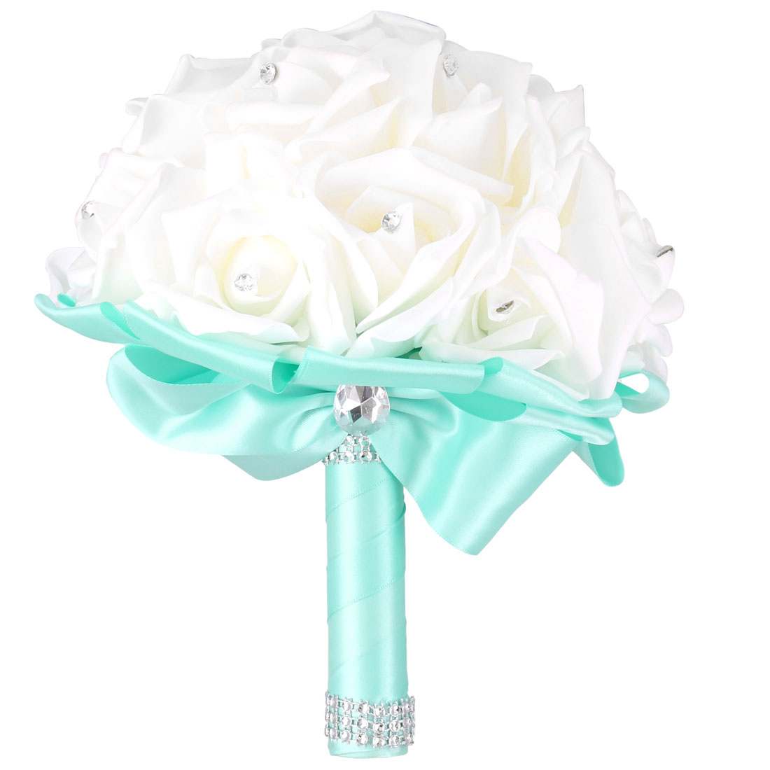 Bridal Wedding Bridesmaid Ribbon Bowknot Decor Rose Flower Handhold Bouquet Cyan