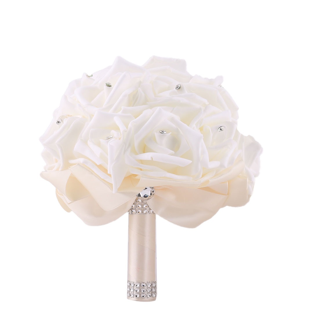 Bridal Wedding Bridesmaid Ribbon Bowknot Decor Rose Flower Handhold Bouquet Beige