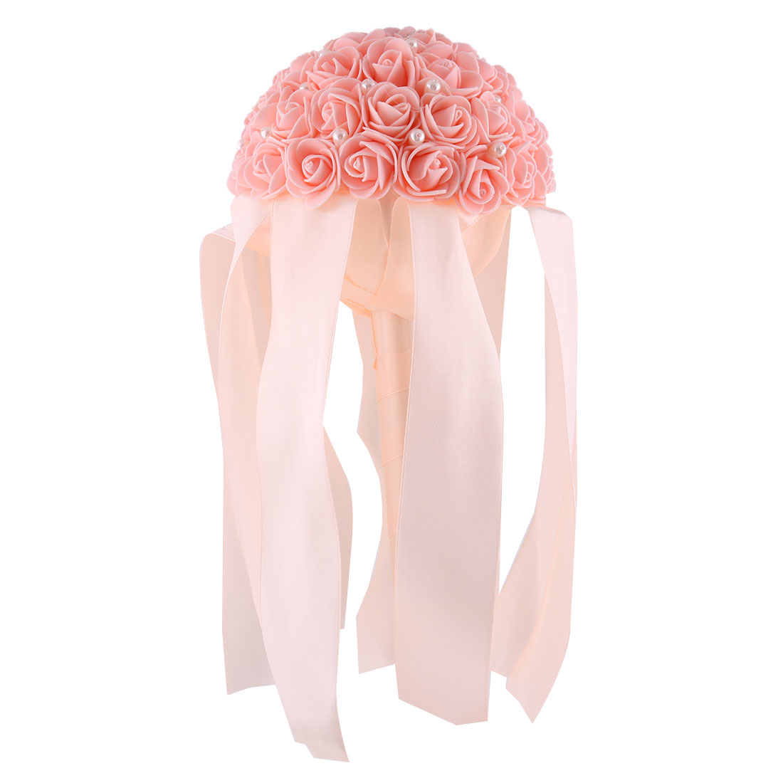 Bridal Wedding Party Foam Rose Flower Ribbon Beads Decor Handhold Bouquet Coral Pink