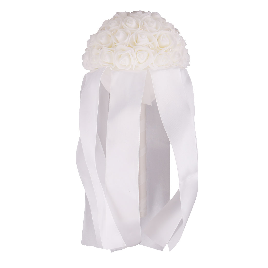 Bridal Wedding Party Foam Rose Flower Ribbon Beads Decor Handhold Bouquet White