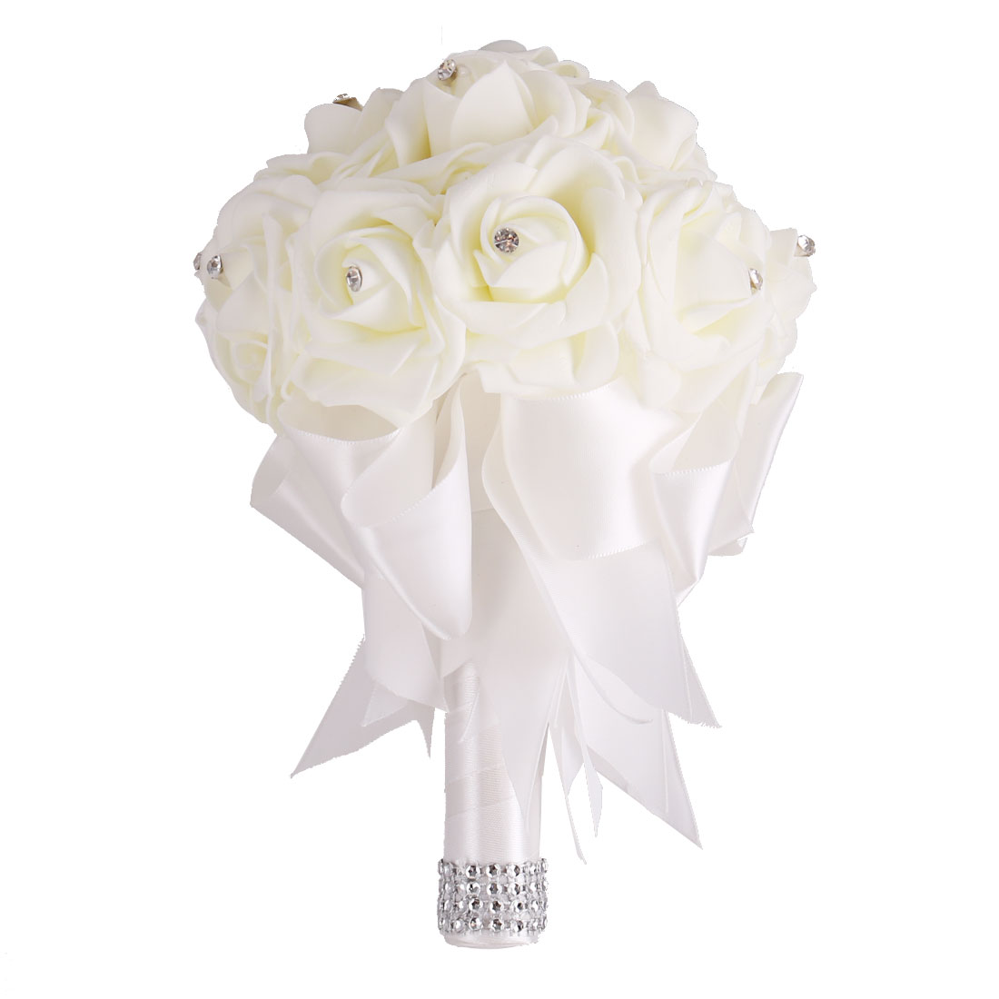 Wedding Globular Ribbon Decor Bridal Artificial Flower Handhold Bouquet White
