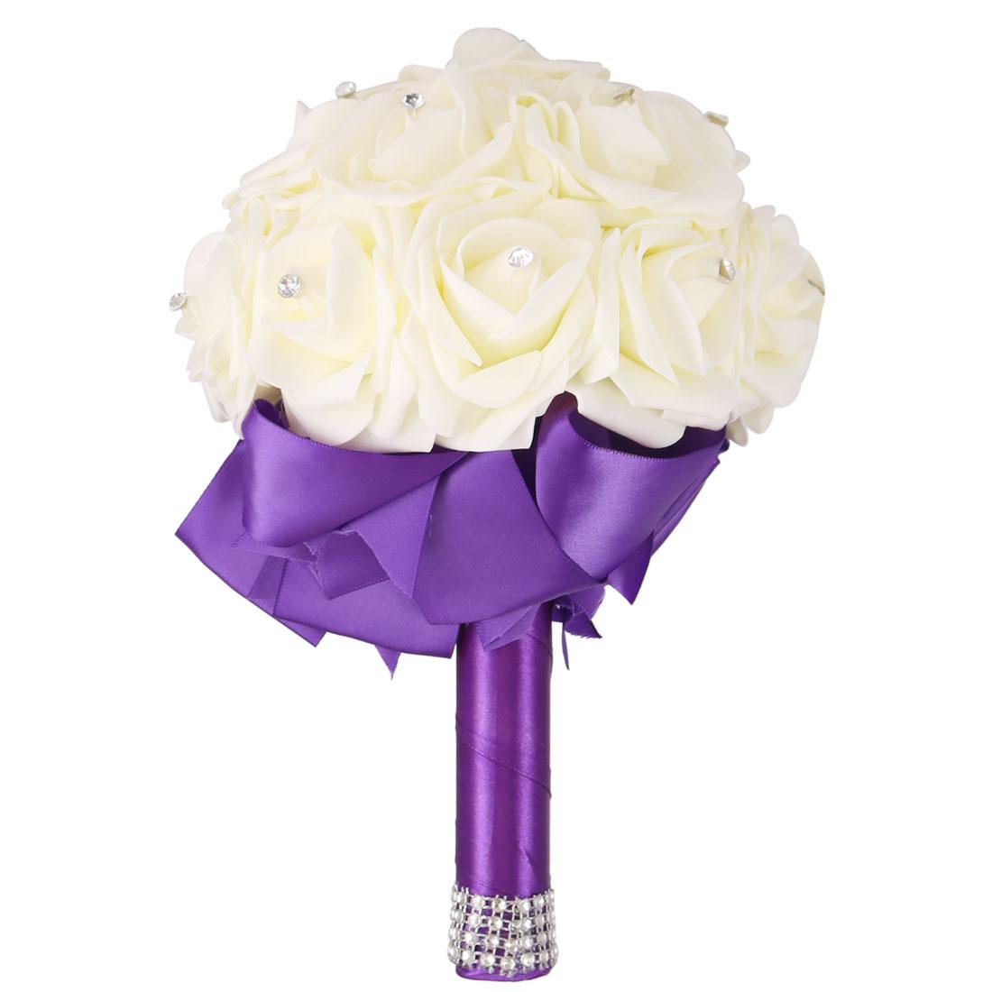Wedding Globular Ribbon Decor Bridal Artificial Flower Handhold Bouquet Purple