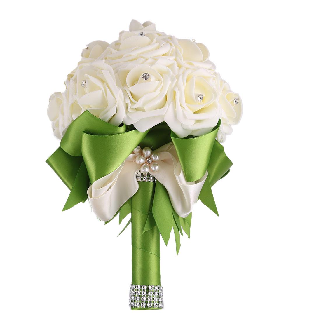 Wedding Globular Ribbon Decor Bridal Artificial Flower Handhold Bouquet Green