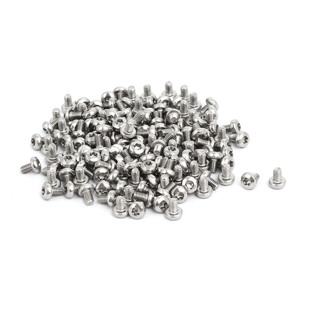 M2.5x4mm 304 Stainless Steel Button Head Torx Screws Bolts T8 Drive 150pcs