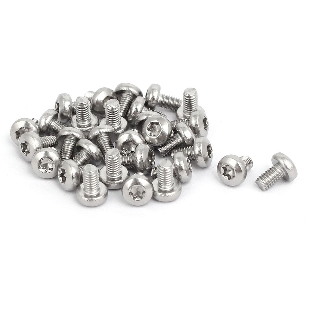 M3x5mm 304 Stainless Steel Button Head Torx Screws Bolts T10 Drive 30pcs