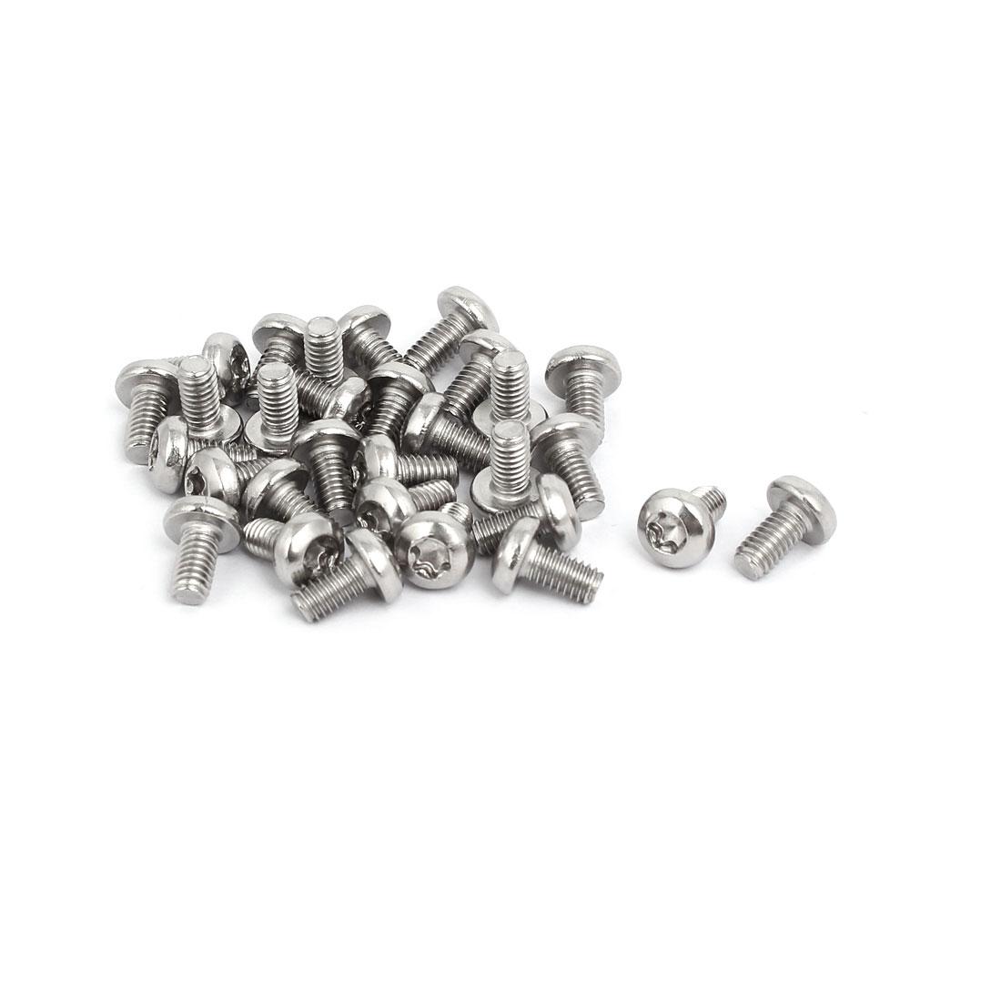 M4x8mm 304 Stainless Steel Button Head Torx Screws Bolts T10 Drive 30pcs