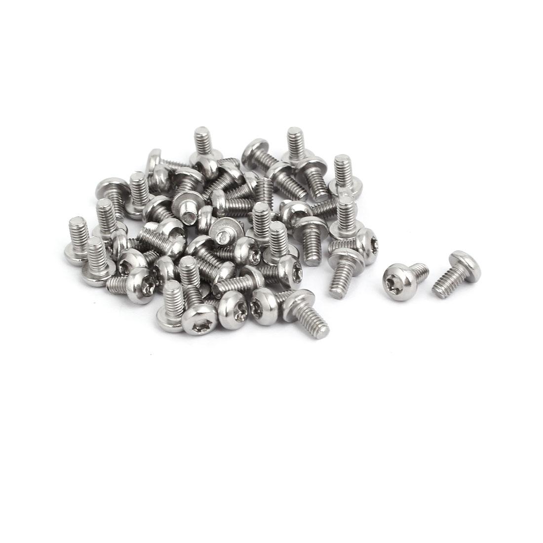 M4x8mm 304 Stainless Steel Button Head Torx Screws Bolts T10 Drive 50pcs