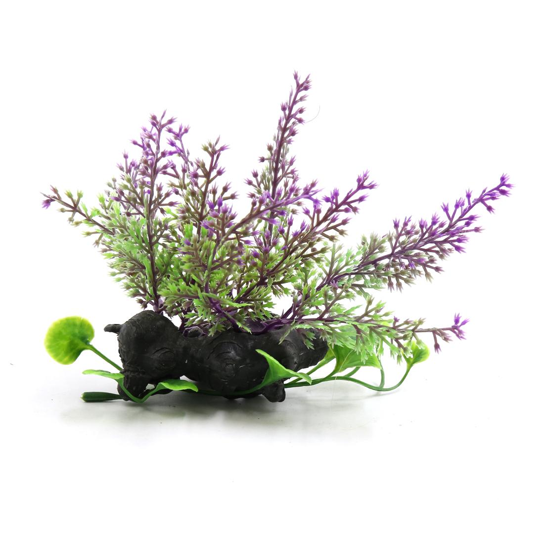 Purple Plastic Fish Tank Terrarium Plants Ornament for Reptiles w Ceramic Base