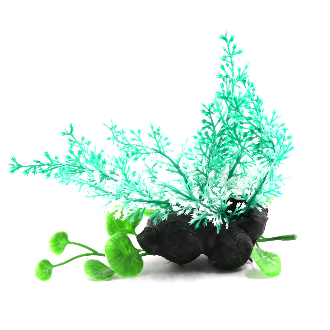 Mint Green Plastic Fish Tank Terrarium Plants Ornament for Reptiles w Ceramic Base