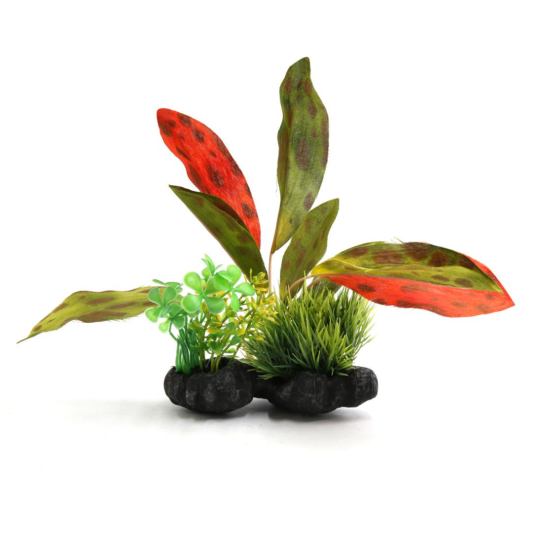 Plastic Terrarium Leaves Plants Underwater Ornament for Reptiles w Ceramic Base