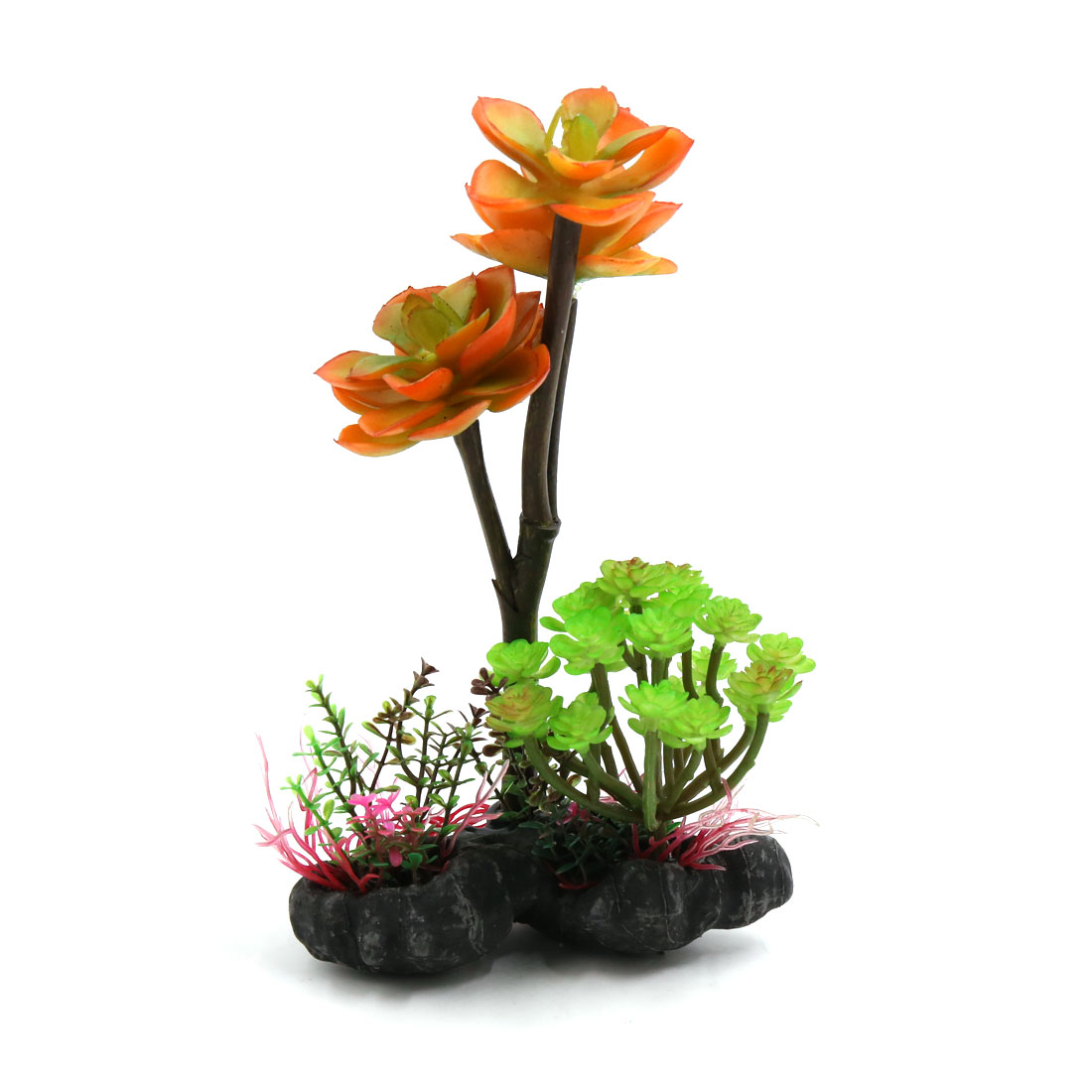 Plastic Terrarium Flowers Plants Decor Landscape for Reptiles w Ceramic Base