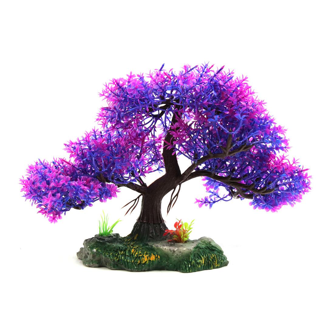 Purple Plastic Aquarium Underwater Tree Plant Decoration Ornament w Ceramic Base