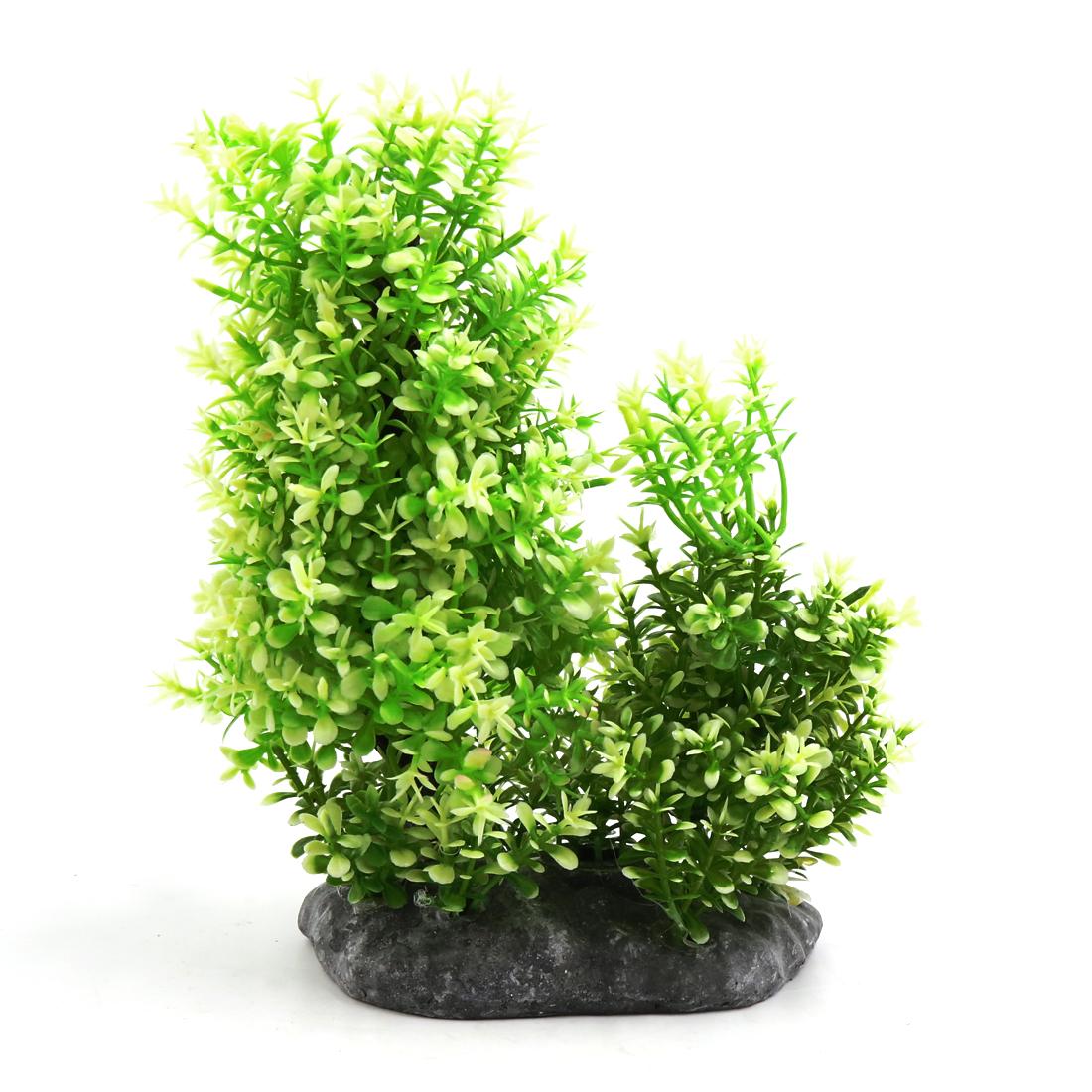 Plastic Aquarium Underwater Tree Plant Decorative Ornament w Ceramic Base