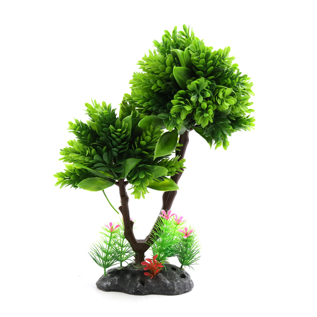 Green Plastic Decor Tree Plant Ornament for Aquarium Fish Tank w Ceramic Base