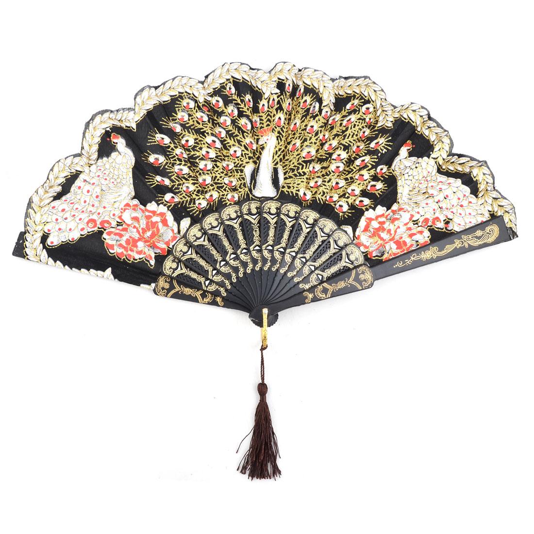 Home Wedding Plastic Frame Flower Pattern Folding Cooling Dancing Hand Fan Colorful