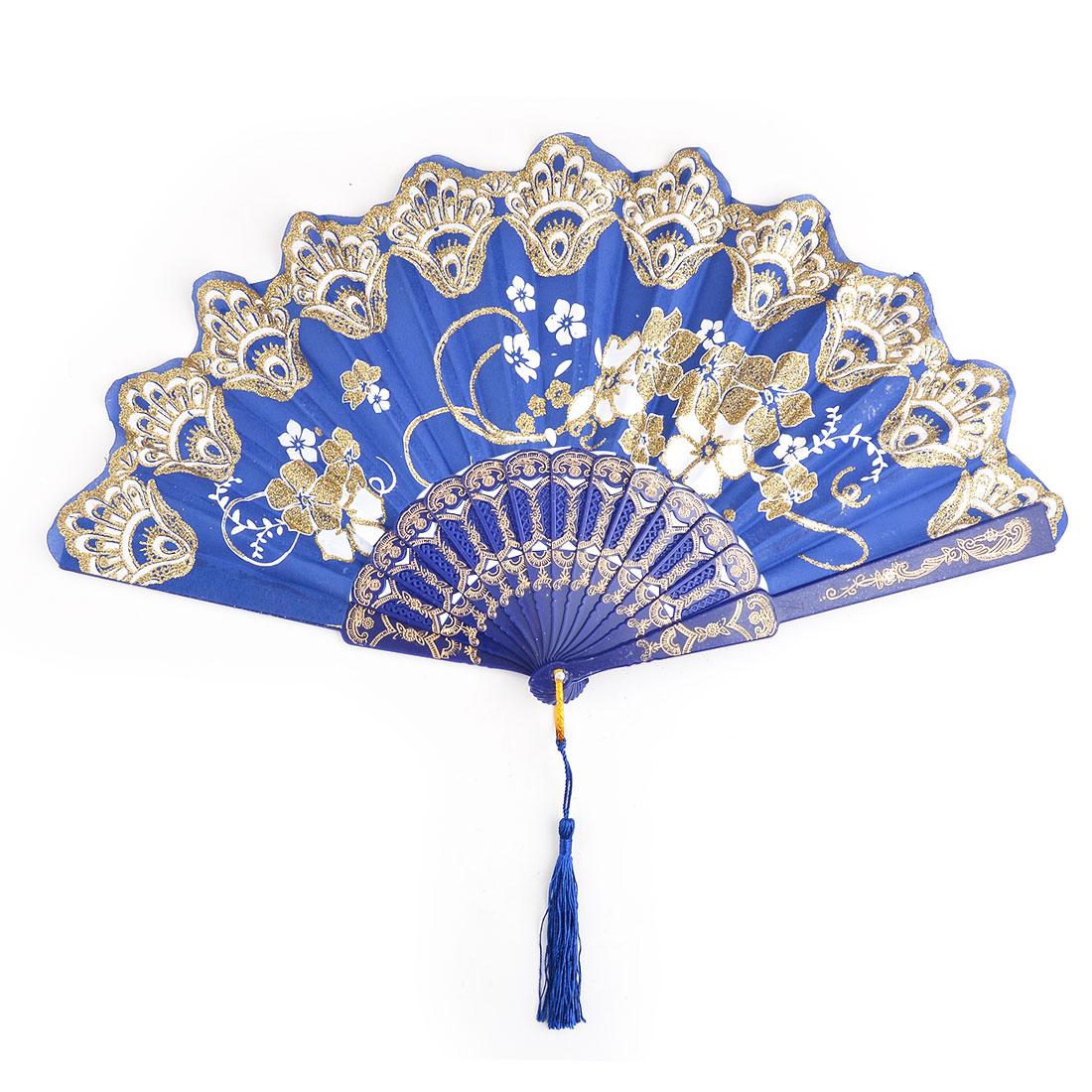 Household Wedding Plastic Cherryblossom Pattern Folding Cooling Dancing Hand Fan Dark Blue