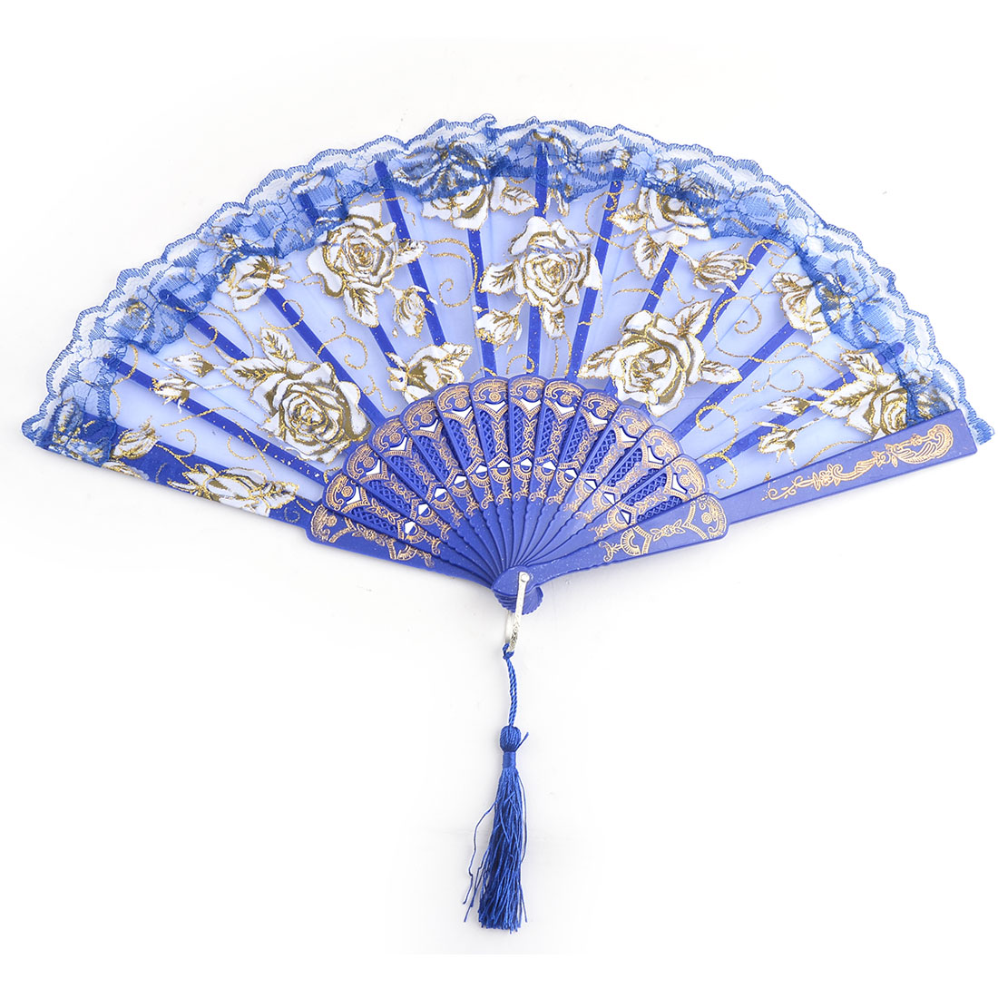 Women Dancer Plastic Frame Rose Pattern Folding Dancing Hand Fan Dark Blue 23.8cm Length