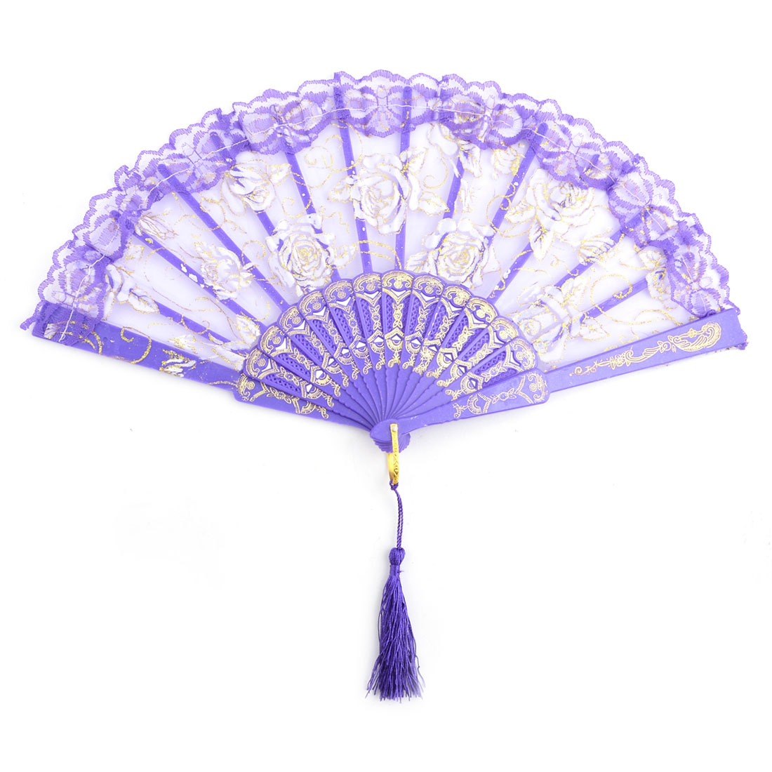 Women Dancer Plastic Frame Rose Pattern Folding Dancing Hand Fan Purple 23.8cm Length