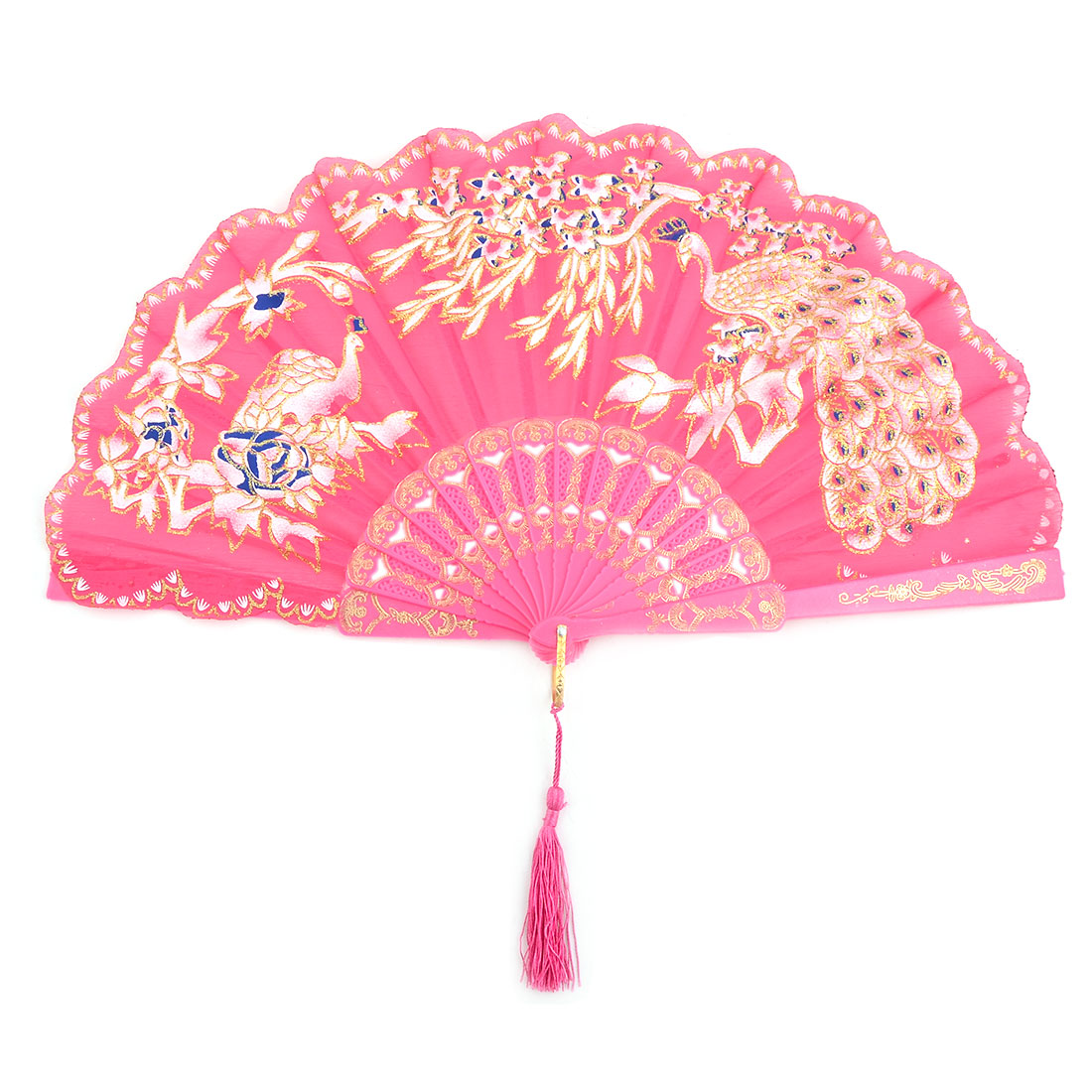 Dancer Plastic Peacock Pattern Folding Dancing Cooling Hand Fan Fuchsia 24cm Length