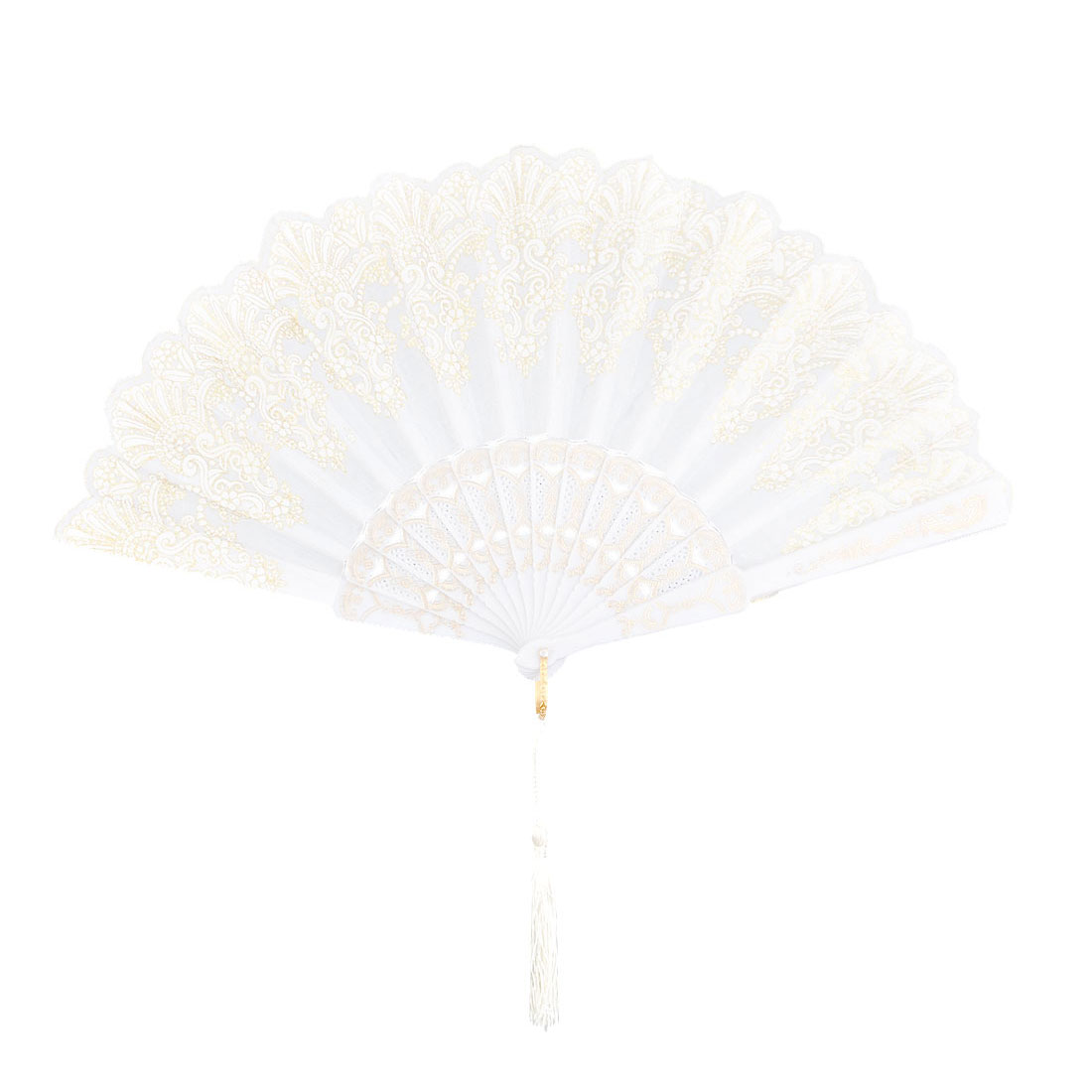 Lady Plastic Frame Flower Print Folding Dancing Cooling Hand Fan White 24cm Length