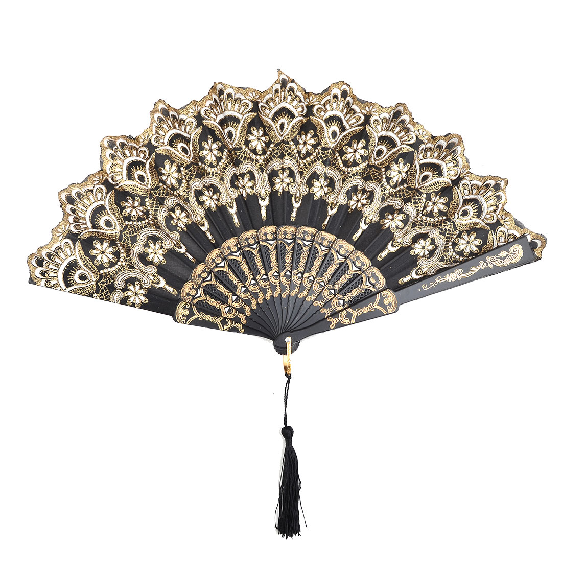 Lady Dancer Plastic Flower Pattern Tassel Decor Floding Hand Fan Black 24cm Length