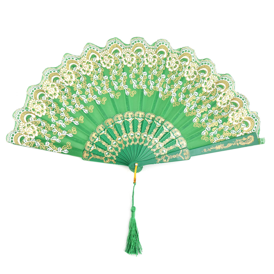 Household Wedding Plastic Frame Tassel Decor Folding Cooling Dancing Hand Fan Green
