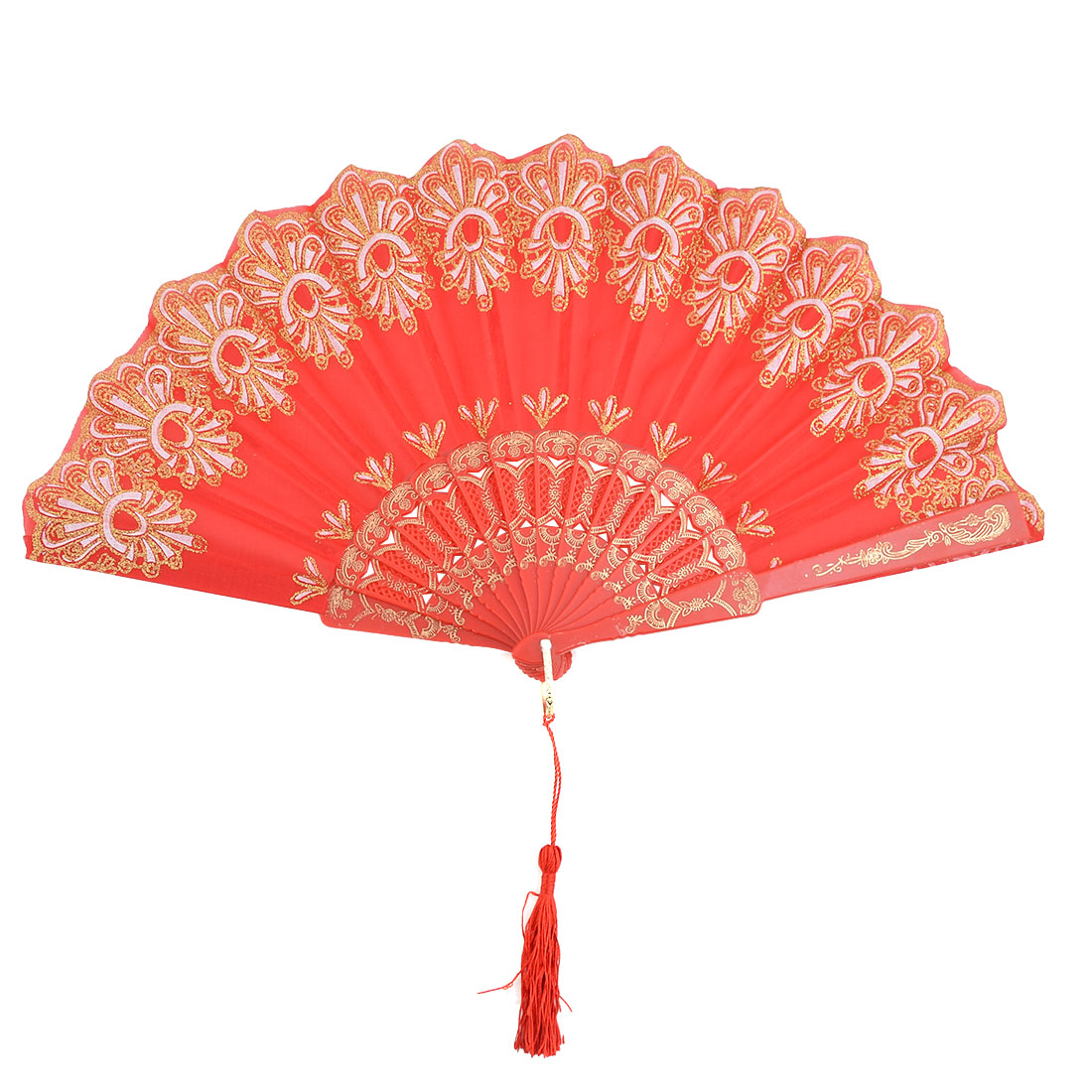 Lady Plastic Frame Floral Print Folding Dancing Cooling Hand Fan Red 23.5cm Length
