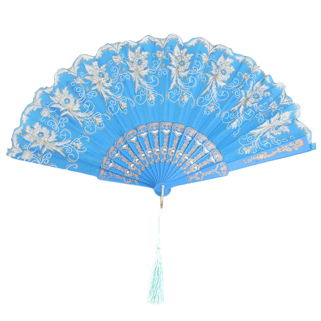 Gift Plastic Frame Flower Pattern Wall Hanging Decoration Handheld Folding Fan Blue