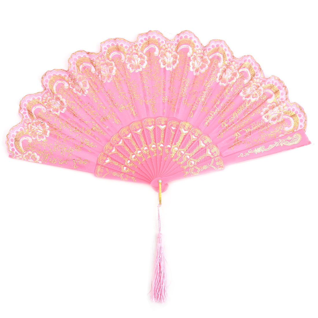 Beach Plastic Flower Pattern Folding Dancing Cooling Hand Fan Pink 24cm Length