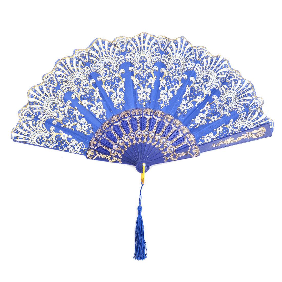 Lady Plastic Frame Flower Print Folding Dancing Cooling Hand Fan Blue 24cm Length
