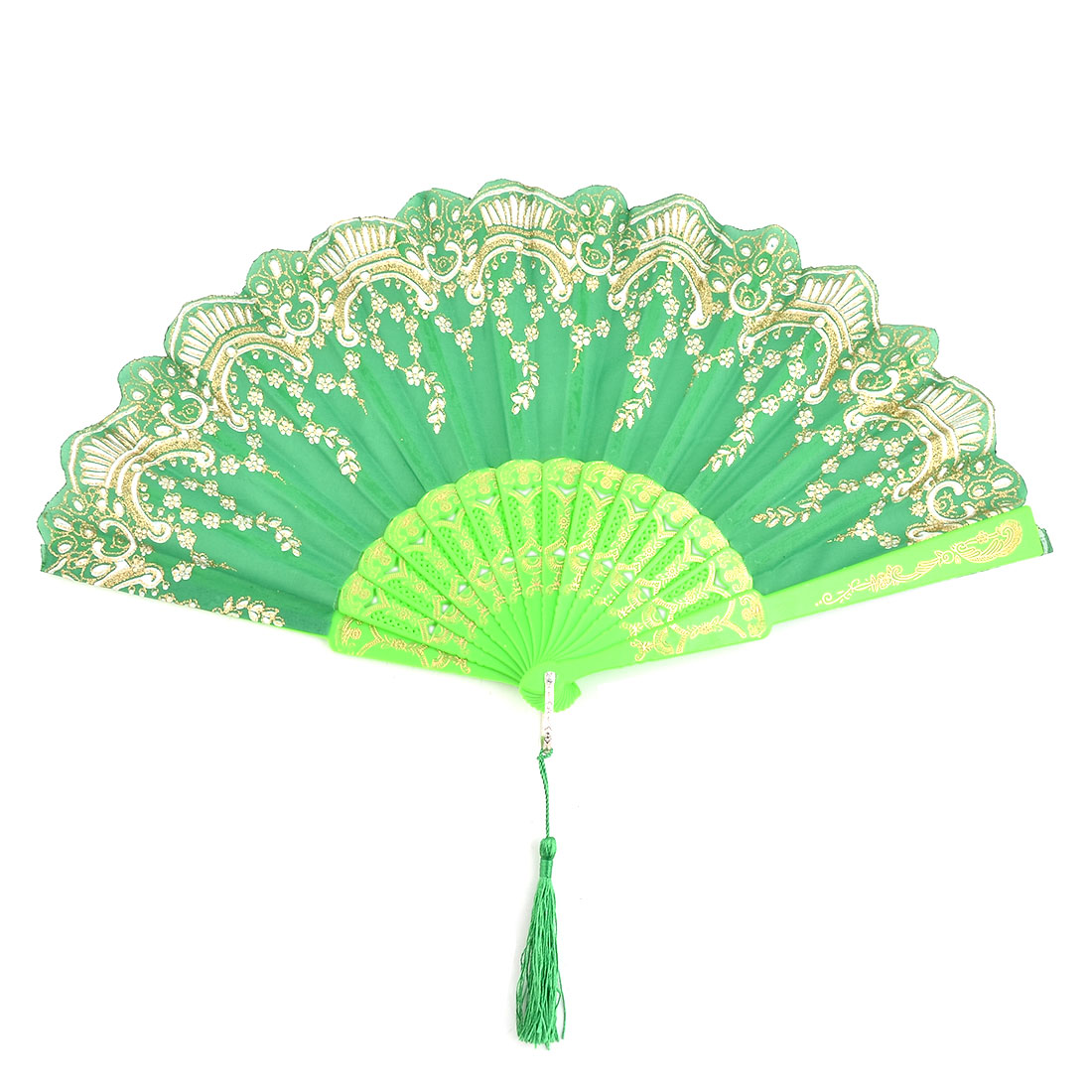 Women Plastic Frame Flower Vine Pattern Tassel Decor Folding Dancing Cooling Fan Green