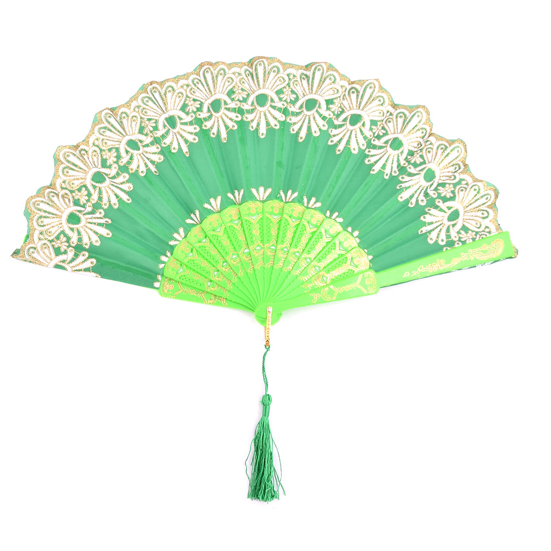 Lady Plastic Frame Floral Print Folding Dancing Cooling Hand Fan Green 23.5cm Length