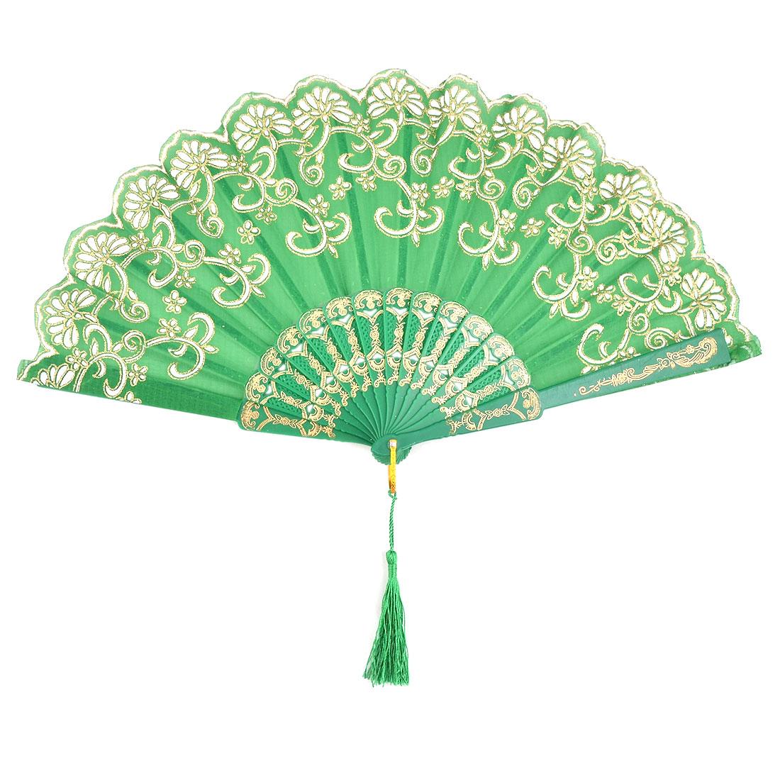 Women Flower Pattern Chinese Style Wedding Party Dancing Folding Hand Fan Green