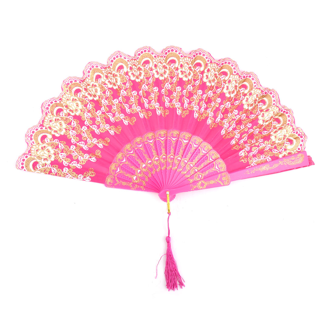 Lady Flower Print Chinese Style Tassel Pendant Party Dancing Folding Hand Fan Fuchsia