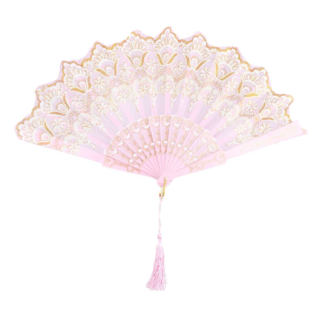 Lady Dancer Plastic Flower Pattern Tassel Decor Floding Hand Fan Pink 24cm Length