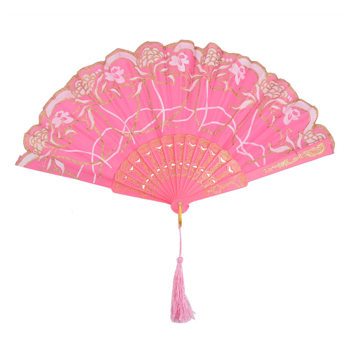 Lady Flower Print Chinese Style Tassel Pendant Party Dancing Folding Hand Fan Pink