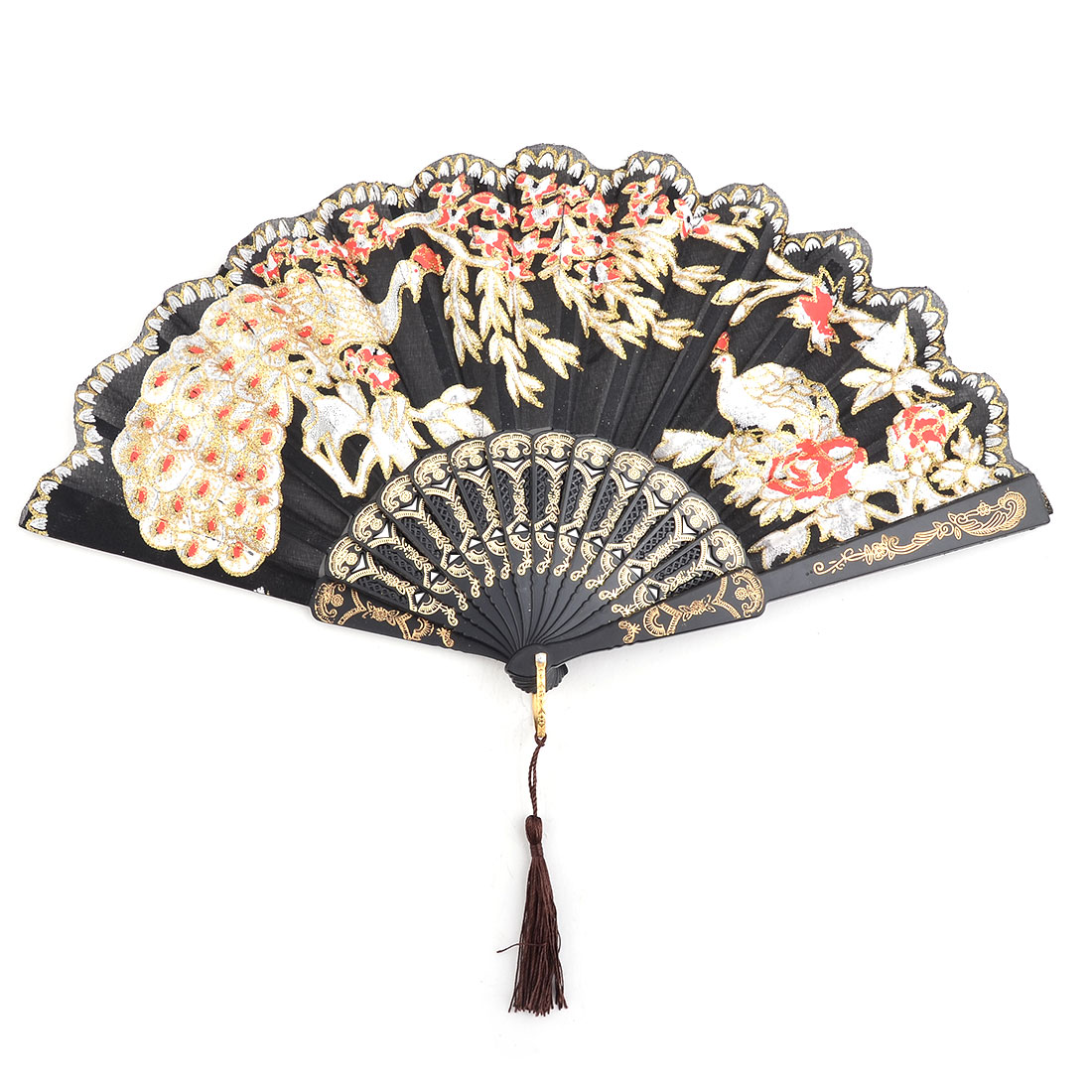 Dancer Plastic Peacock Pattern Folding Dancing Cooling Hand Fan Black 24cm Length