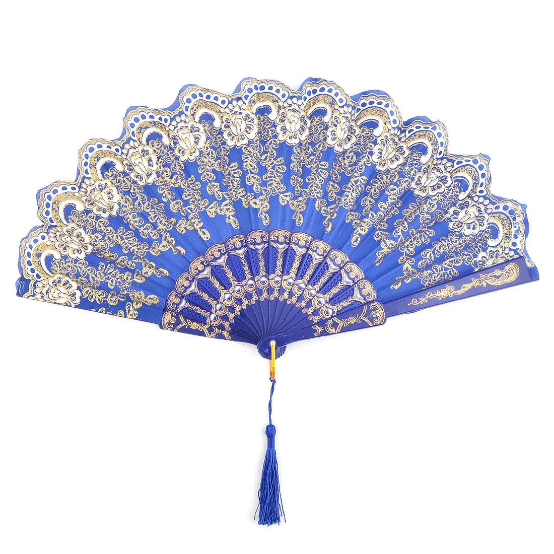 Beach Plastic Flower Pattern Folding Dancing Cooling Hand Fan Blue 24cm Length