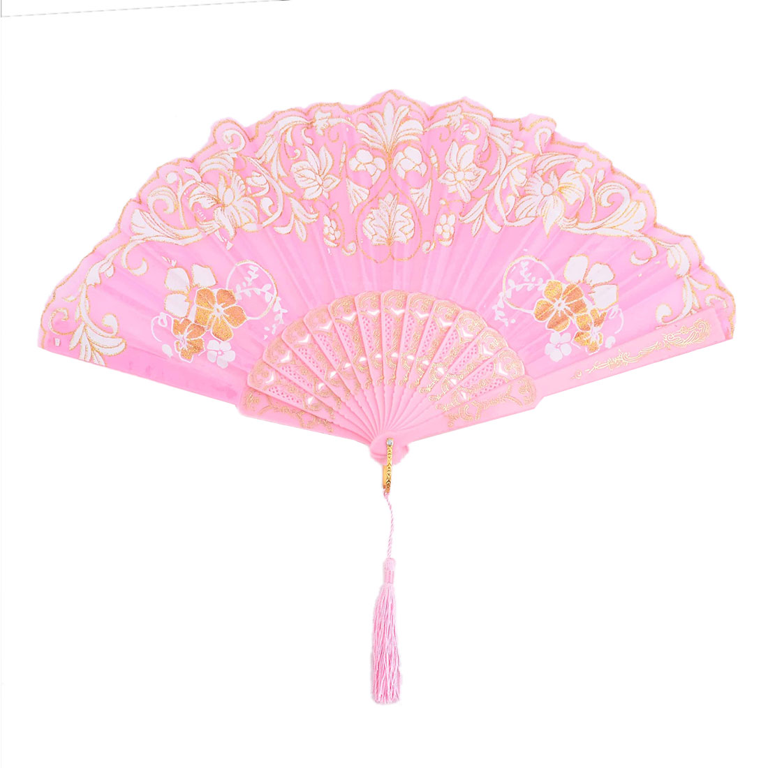 Birthday Gift Plastic Flower Pattern Folding Cooling Dancing Hand Fan Pink 24.4cm Length